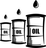Simple illustration with oil barrels — Stock Photo
