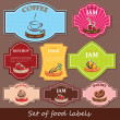 Set of food labels — Stock Vector