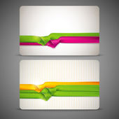 Gift cards with multicolored ribbons — Stock Vector