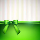 Background with green bow — Stok Vektör