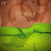 Grunge cardboard texture and green ribbon — Vector de stock