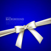 Blue background with white bow — Stock Vector
