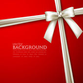 Elegant red background with white bow — 图库矢量图片