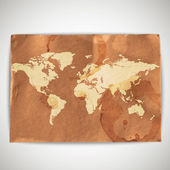 Illustration of world map on cardboard grunge background — Stock Vector