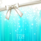 Holiday blue background with white bow — ストックベクタ