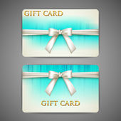 Gift cards with white bows and ribbons — Stock Vector