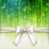 Holiday green background with white bow — Stock Vector