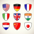 Set of shields with flags — Stock Vector