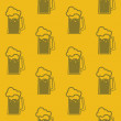 Seamless background with beer mugs — 图库矢量图片