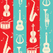 Seamless vintage background with music instruments — Stock Vector
