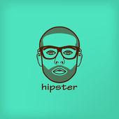 Illustrazione con volto maschile. hipster — Vettoriale Stock