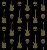 Seamless background with skulls and guitars — Stock Vector