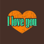 I love you. Vintage background with heart — 图库矢量图片