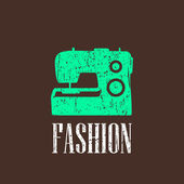 Vintage illustration with sewing machine — Stockvector
