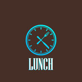 Illustration with lunch time icon — Stok Vektör