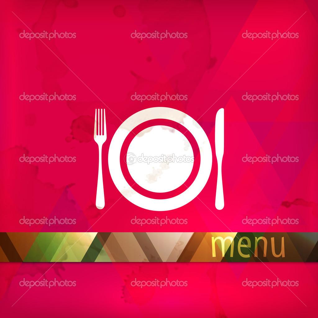 Dise o de men de restaurante con plato tenedor y for Plato tenedor y cuchillo