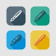 Set of drawing and writing tools. flat icons with long shadows — Stock Vector