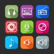 Flat icons for web and mobile applications with musical items — Image vectorielle