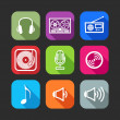 Flat icons for web and mobile applications with musical items — Stock Vector