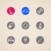 Set of icons with medical items — Stockvektor