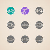 Flat icons with different modes of transport — Stock Vector