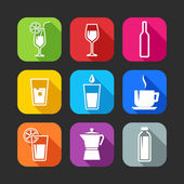 Flat icons for web and mobile applications with beverages — Stock Vector