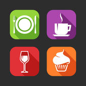 Flat icons for web and mobile applications with meal signs — Stock Vector