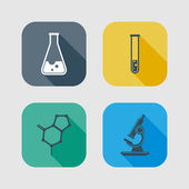 Icon set of science signs. flat design with long shadows — Stock Vector