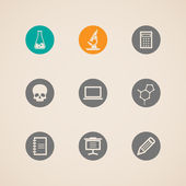 Set of education and science icons — Vector de stock