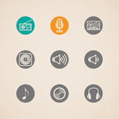 Set of flat vector musical icons — Stock Vector