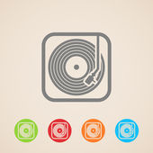 Record player with vinyl record. — Stock Vector