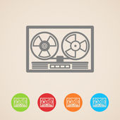 Vector reel tape recorder icons — Stock Vector