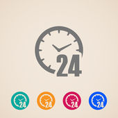 Open 24 hours a day icons — Stock Vector