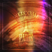 Illustration with Eiffel tower. welcome to Paris — Vettoriale Stock