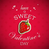 Have a sweet Valentines day. Abstract holiday background with hearts and a red strawberry. — Vector de stock
