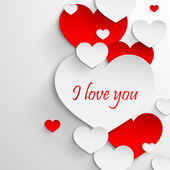 I love you. Abstract holiday background with paper hearts. — 图库矢量图片