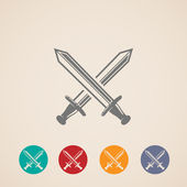 Set of crossing swords icons. — Stock Vector