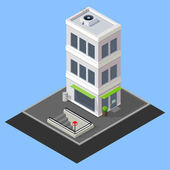 Vector isometric building with metro station — Stock Vector