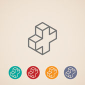 Isometric icons with addition sign — ストックベクタ