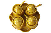Four condiment of one set in ceramic cup — Stock Photo