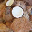 Opened Coconut shell on Coconut stack — Stock Photo
