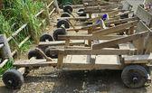 Hill tribe racing 4 wheel wooden cart — Foto de Stock
