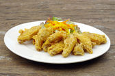 Fried Chicken on the wood table — Stock Photo