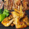 Grilled Chicken barbecue with other meat barbecue on grilled — Stock Photo