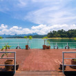 Stock Photo: Pontoon in front of hut in Khaosok lake, RatchapraphDam ,