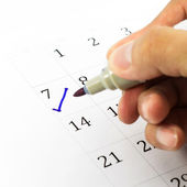 Blue check. Mark on the calendar at 7. — Stock Photo