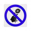 Do not pick flower sign,blue cycle color — Stock Photo