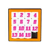 Corredizas quince juego de rompecabezas en marco de color naranja en pentecostés — Foto de Stock