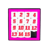 Pocket sliding fifteen puzzle game in pink color frame on white — Stock Photo