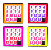 Pocket sliding fifteen puzzle game four color frame on white bac — Stock Photo